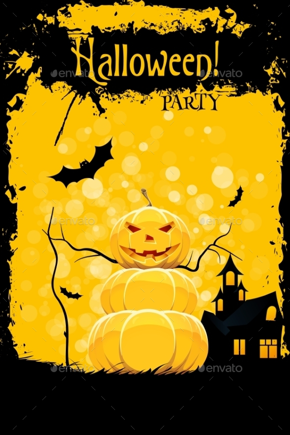 Grungy Halloween Party Card