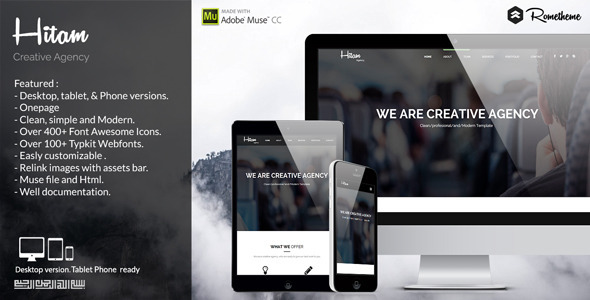 Hitam Onepage Muse Template