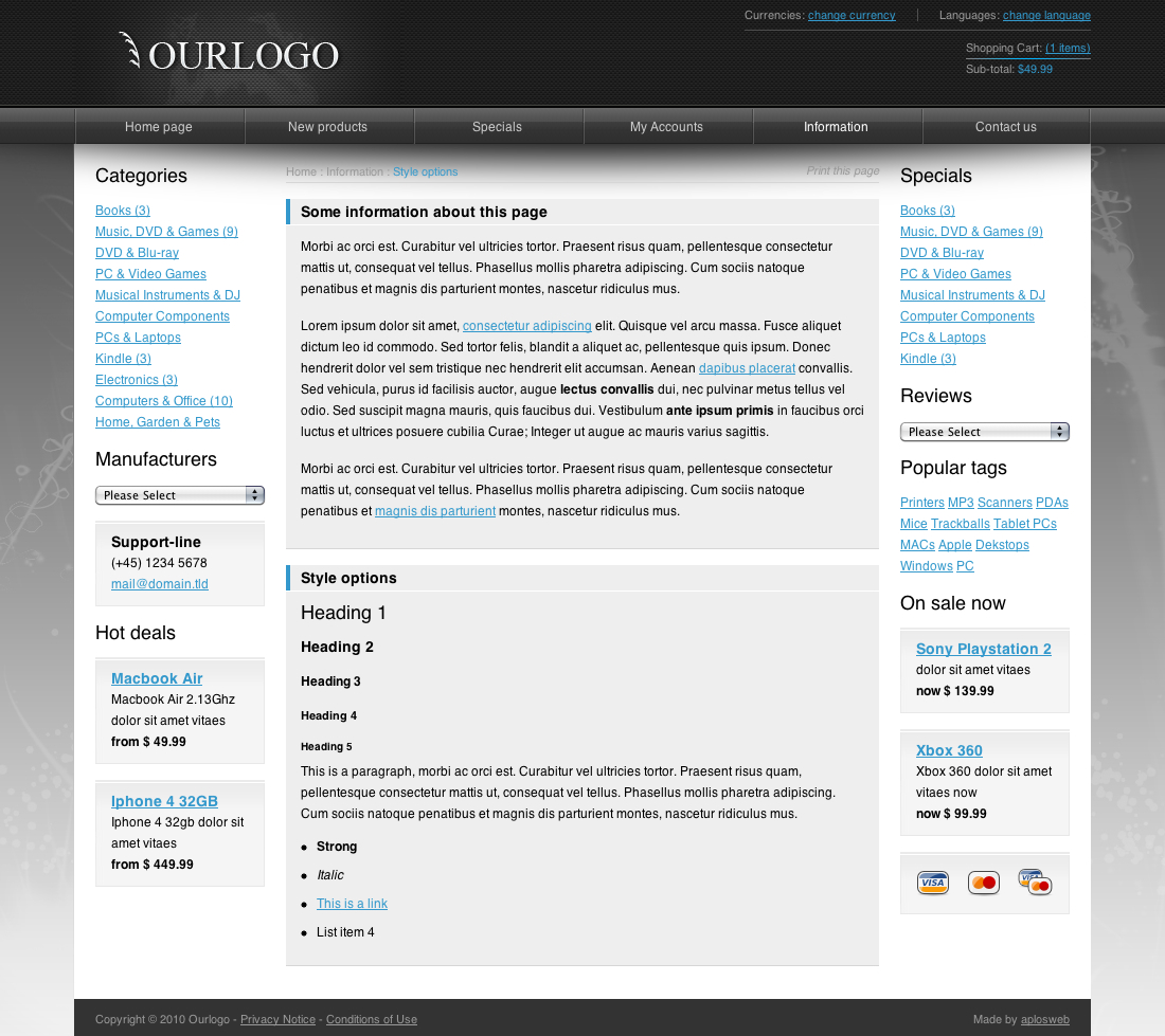 Modern E-commere Webshop Site Template