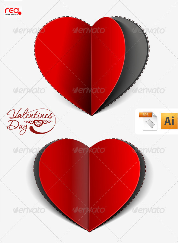 Paper Cut Heart Greeting Card Design Graphicriver