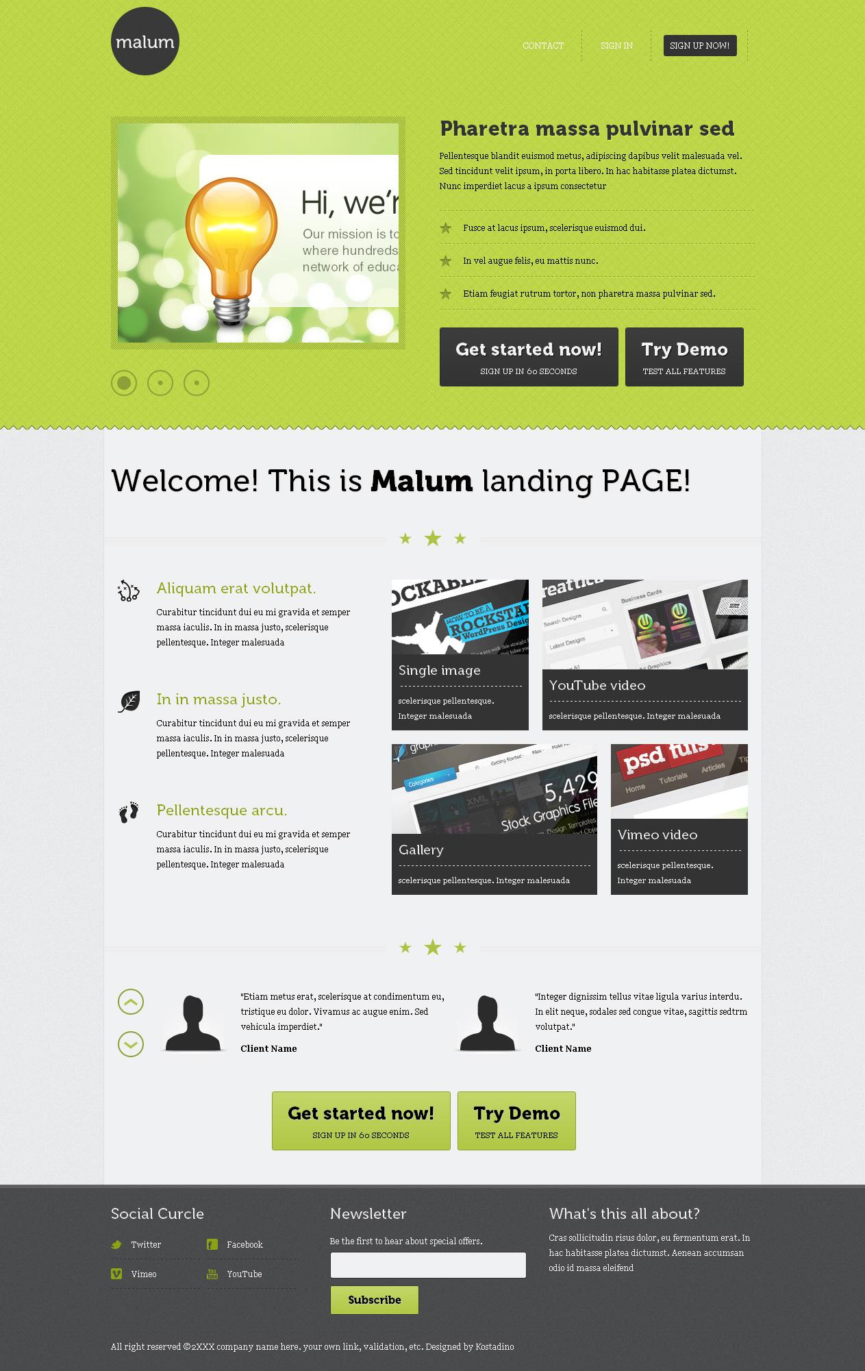 Malum landing page HTML template