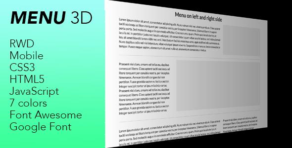 Menu 3d - CodeCanyon Item for Sale