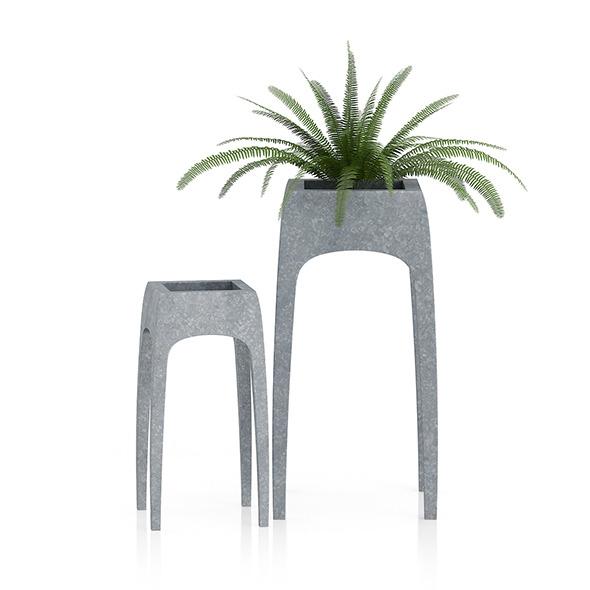 Fern in Metal Standing Pot - 3DOcean Item for Sale