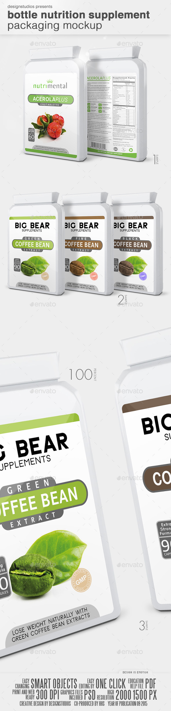 Bottle Nutrition Supplement Packaging Mock-Up