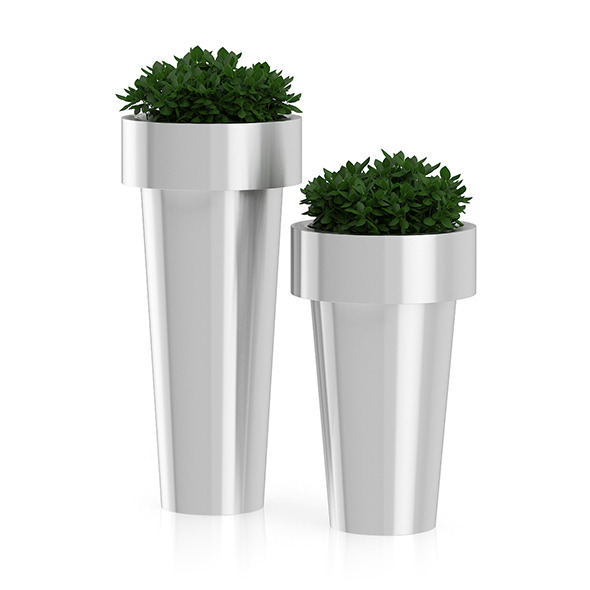 Two Plants in Large Metal Pots - 3DOcean Item for Sale