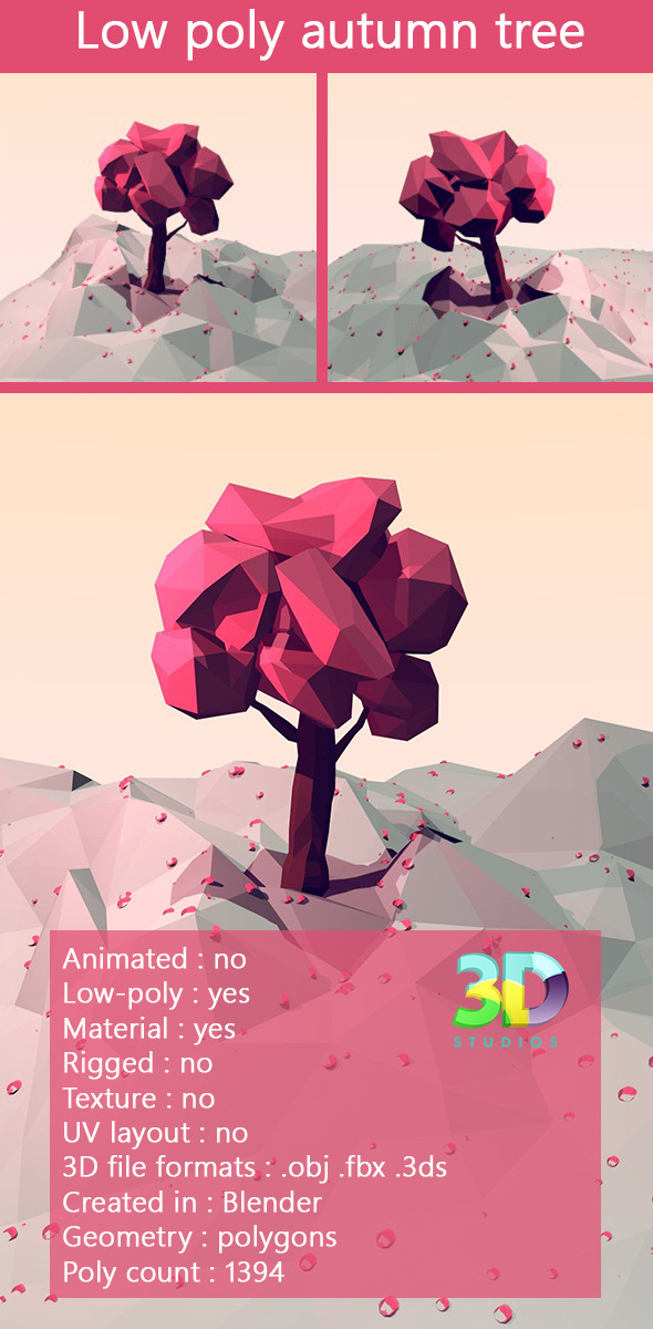 Low poly autumn tree - 3DOcean Item for Sale