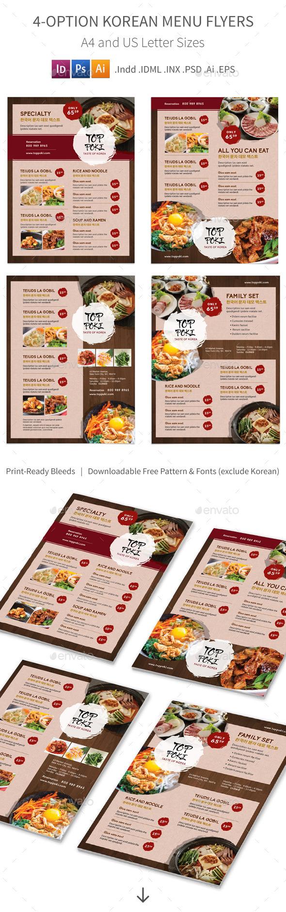Korean Restaurant Menu Flyers – 4 Options