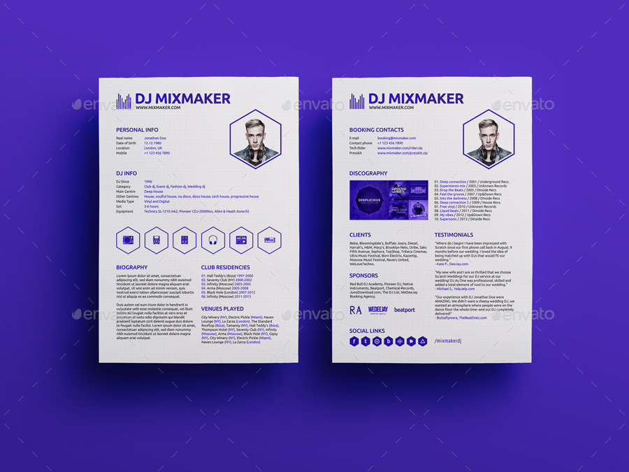 MixMaker DJ Resume Press kit PSD Template by vinyljunkie – Press Kit Template