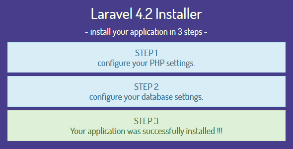 Laravel 4.2 Installer - Installation Script