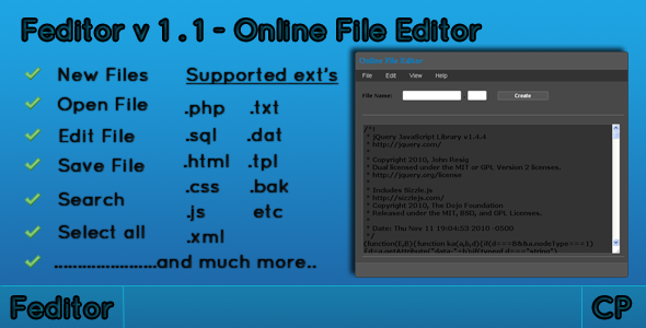 CodeCanyon Feditor-Online file editor 149742