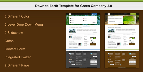 Down to Earth Template for Green Company 2.0 - Preview