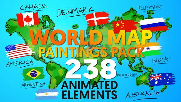 World Map Paintings Pack 12070408   - shareDAE