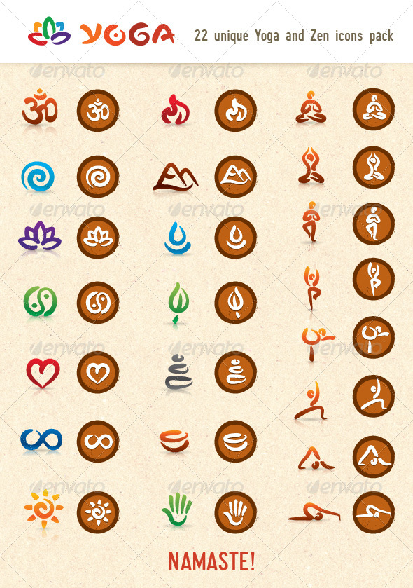 GraphicRiver Hatha Yoga and Zen Vector Icons Pack 155994