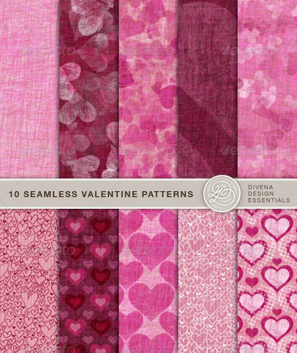 GraphicRiver 10 Seamless Valentine Patterns 156007