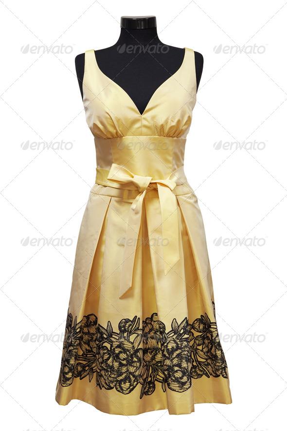 yellow female dress - Stock Photo - Images