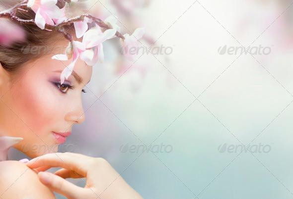 PhotoDune Beautiful Girl With Spring Flowers Fresh Skin 1298692
