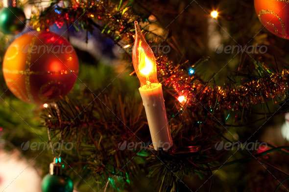 Christmas tree. Close up. - Stock Photo - Images