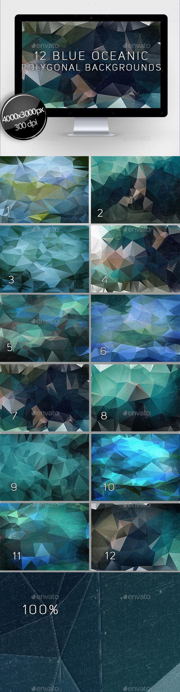 12 Blue Oceanic Polygonal Backgrounds