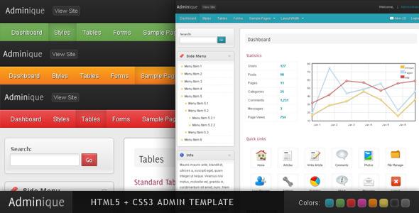 ThemeForest Adminique Admin Template 155706