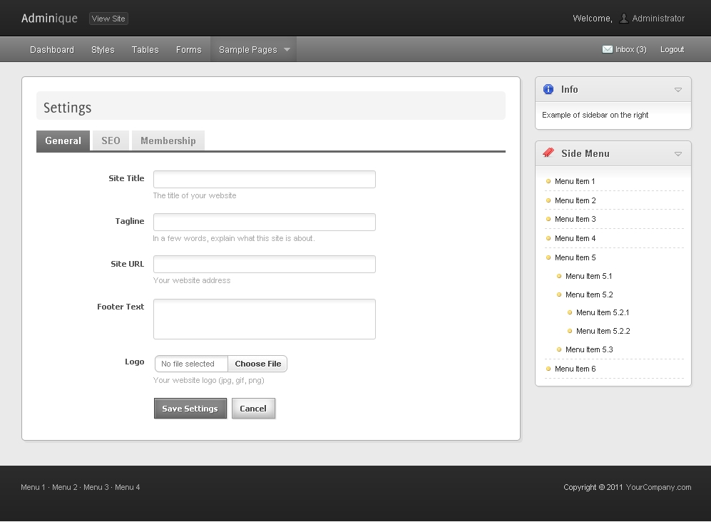 Adminique - Admin Template - Settings page with gray skin
