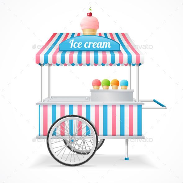 Ice Cream Cart Market Card. Vector