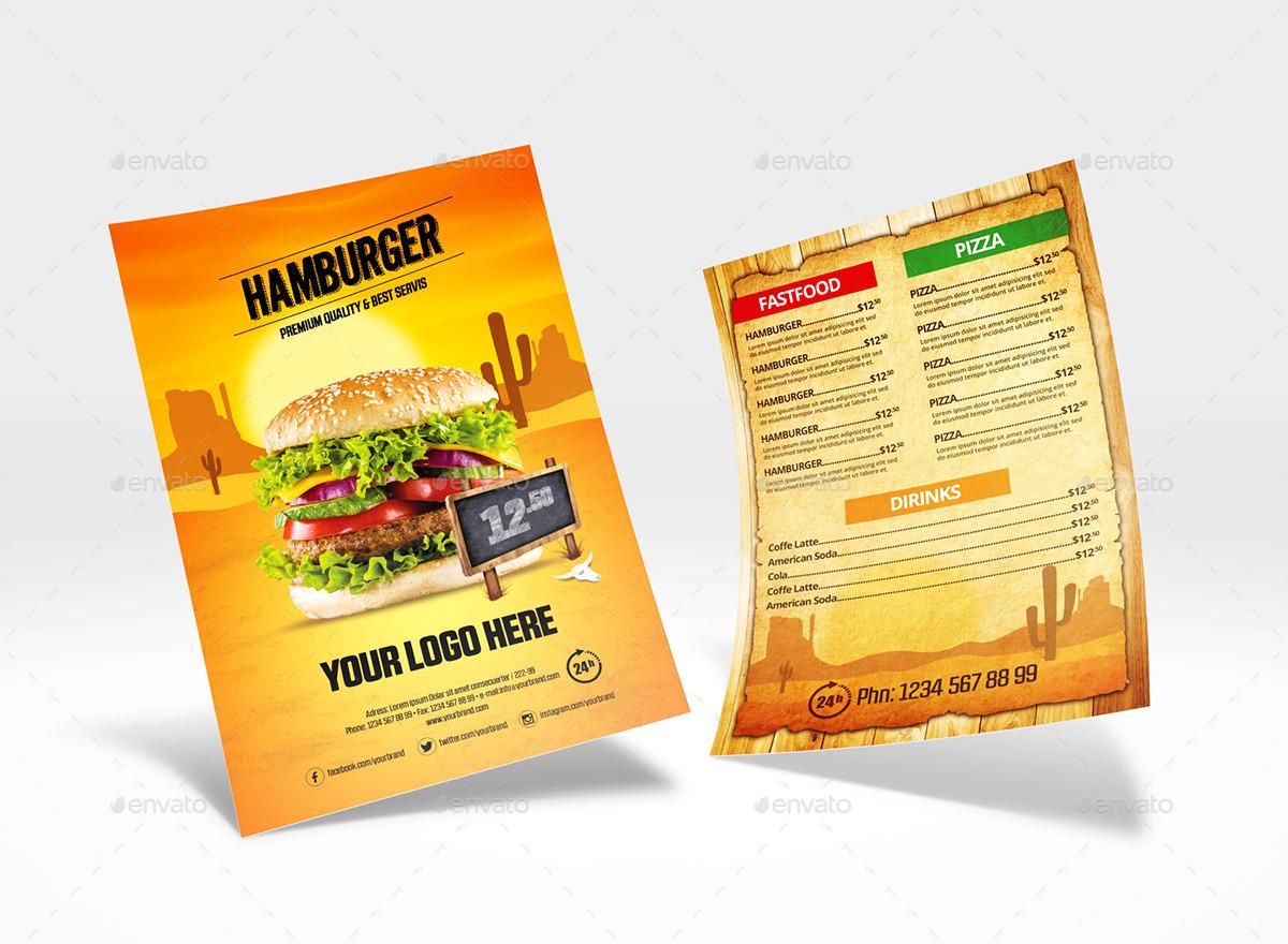 Restaurant Food Menu Flyer Template by Graphimania – Menu Flyer Template