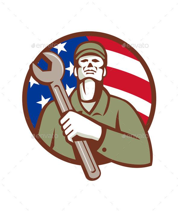 Mechanic Holding Wrench USA Flag Circle Retro