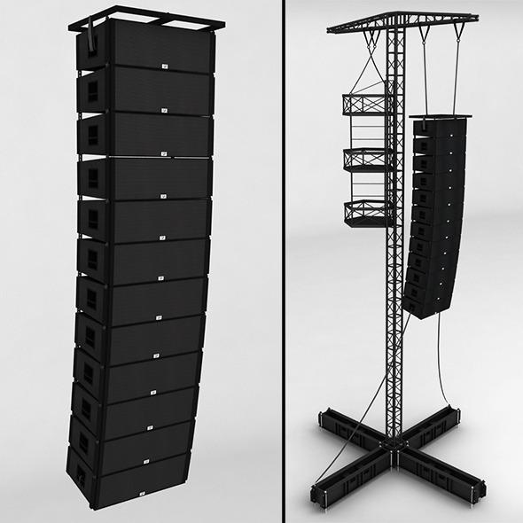 Speaker concert system scaffolding tower array - 3DOcean Item for Sale