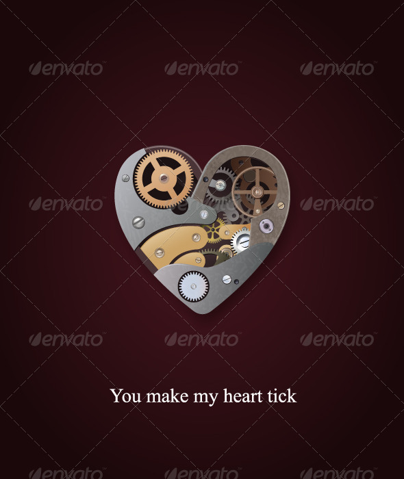 GraphicRiver Mechanical heart valentine 156354