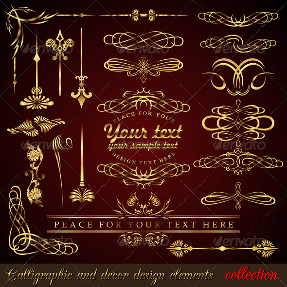 Gold calligraphic design elements - Flourishes / Swirls Decorative