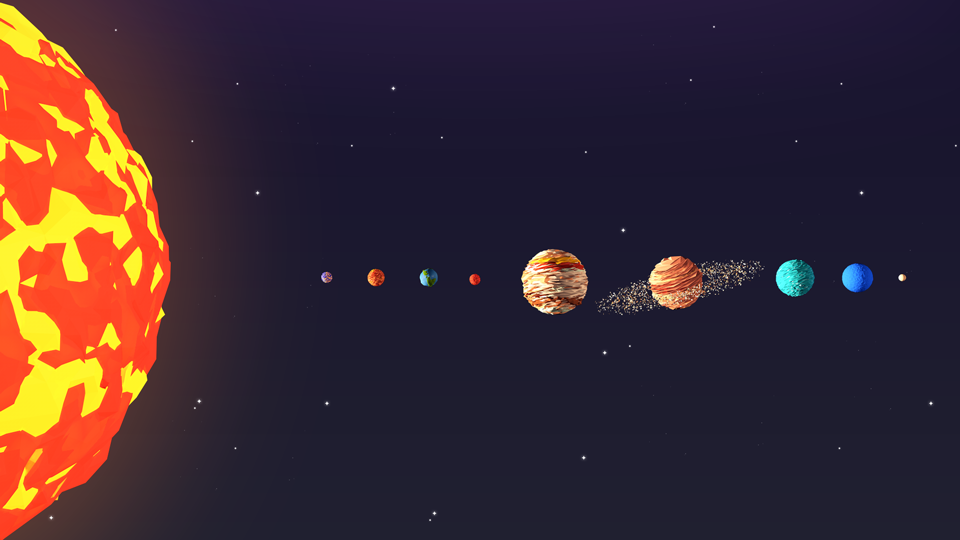 Low poly solar system              Low poly solar system