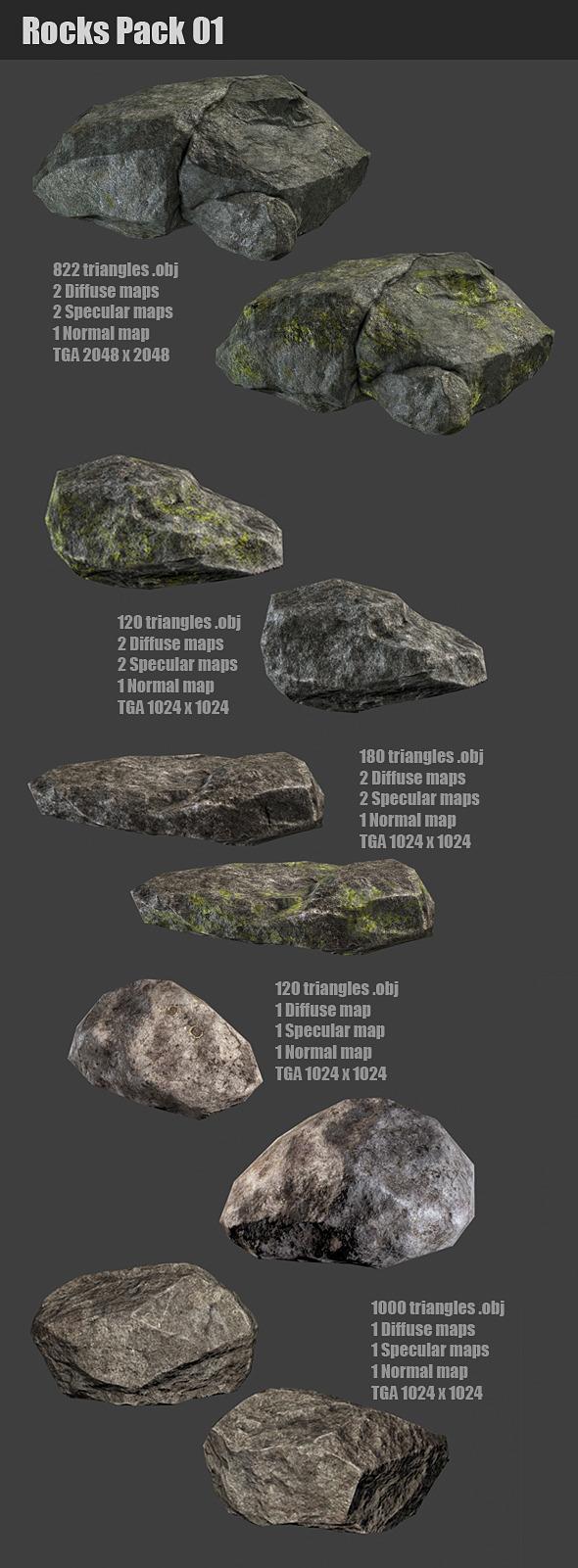 Rocks Pack 01 - 3DOcean Item for Sale