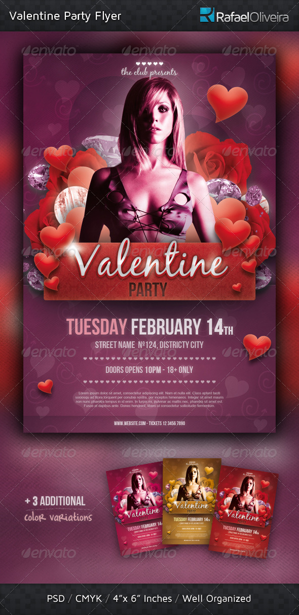 GraphicRiver Valentine Party Flyer 1301822