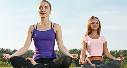 Two attractive girls met for yoga