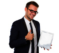 Businessman using a tablet pc, smiling