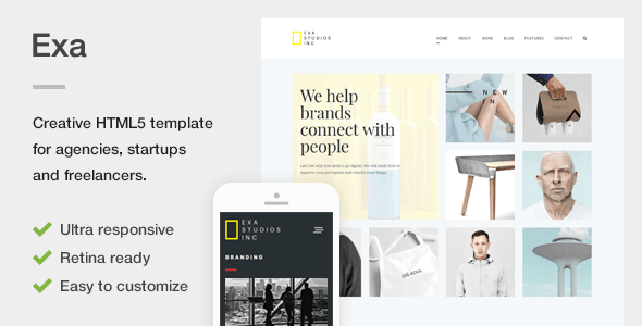 25. Exa - A Fresh & Creative Portfolio HTML5 Template