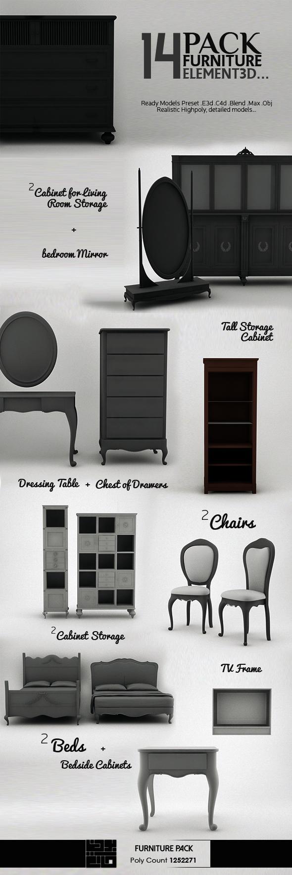 Pack Furniture 3D Model - 3DOcean Item for Sale