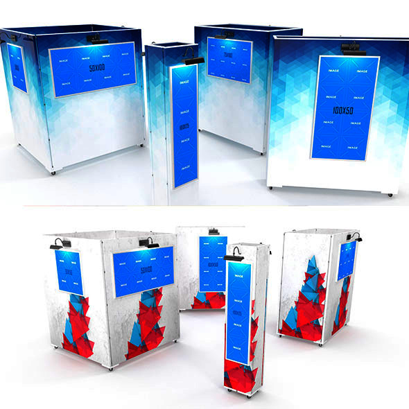 3DOcean Gallery Painting Stands Mockup 13004267