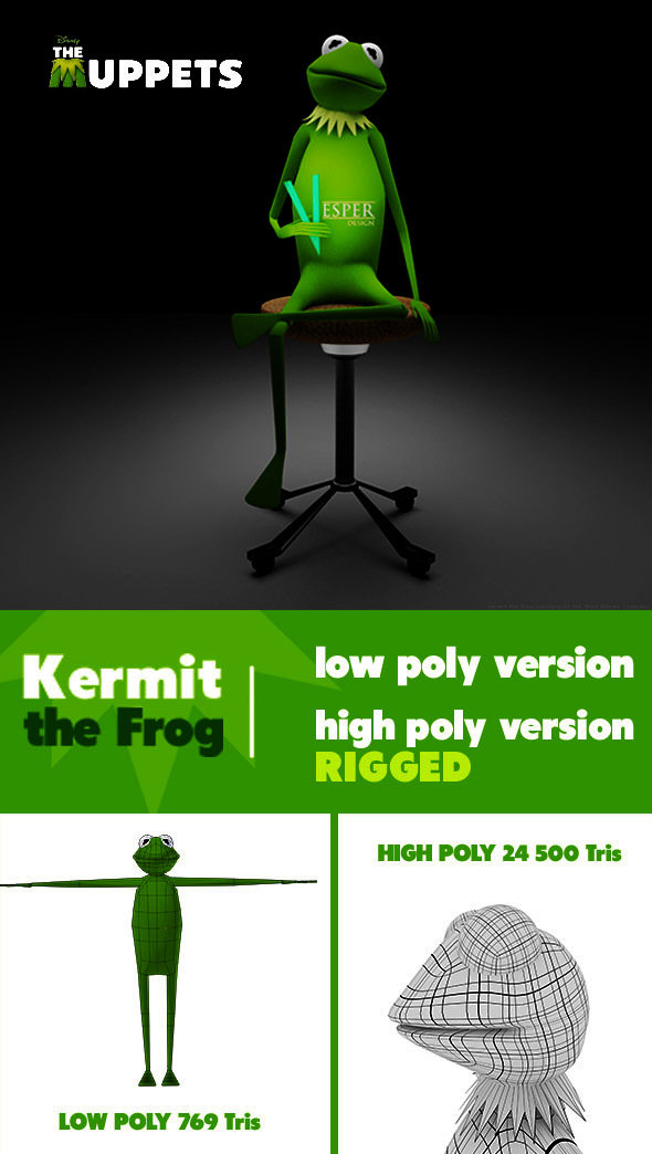 Kermit the Frog - 3DOcean Item for Sale