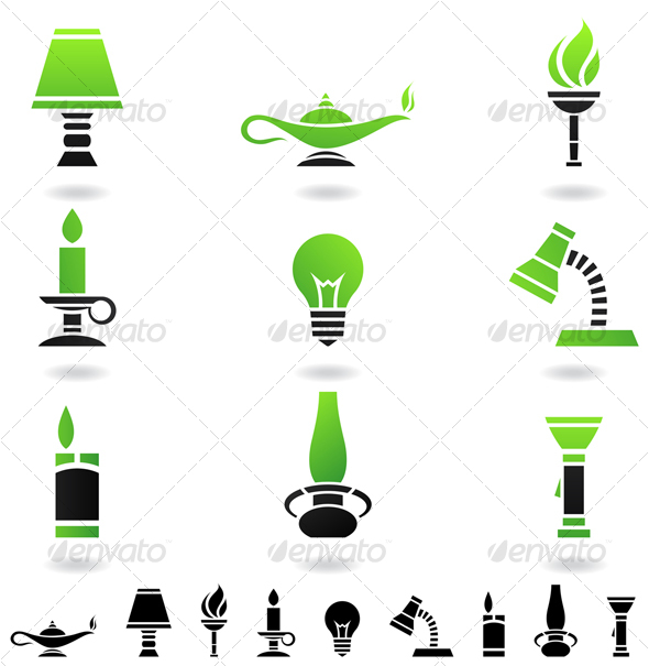 Graphic River light sources Icons -  Objects  Man-made objects 51950