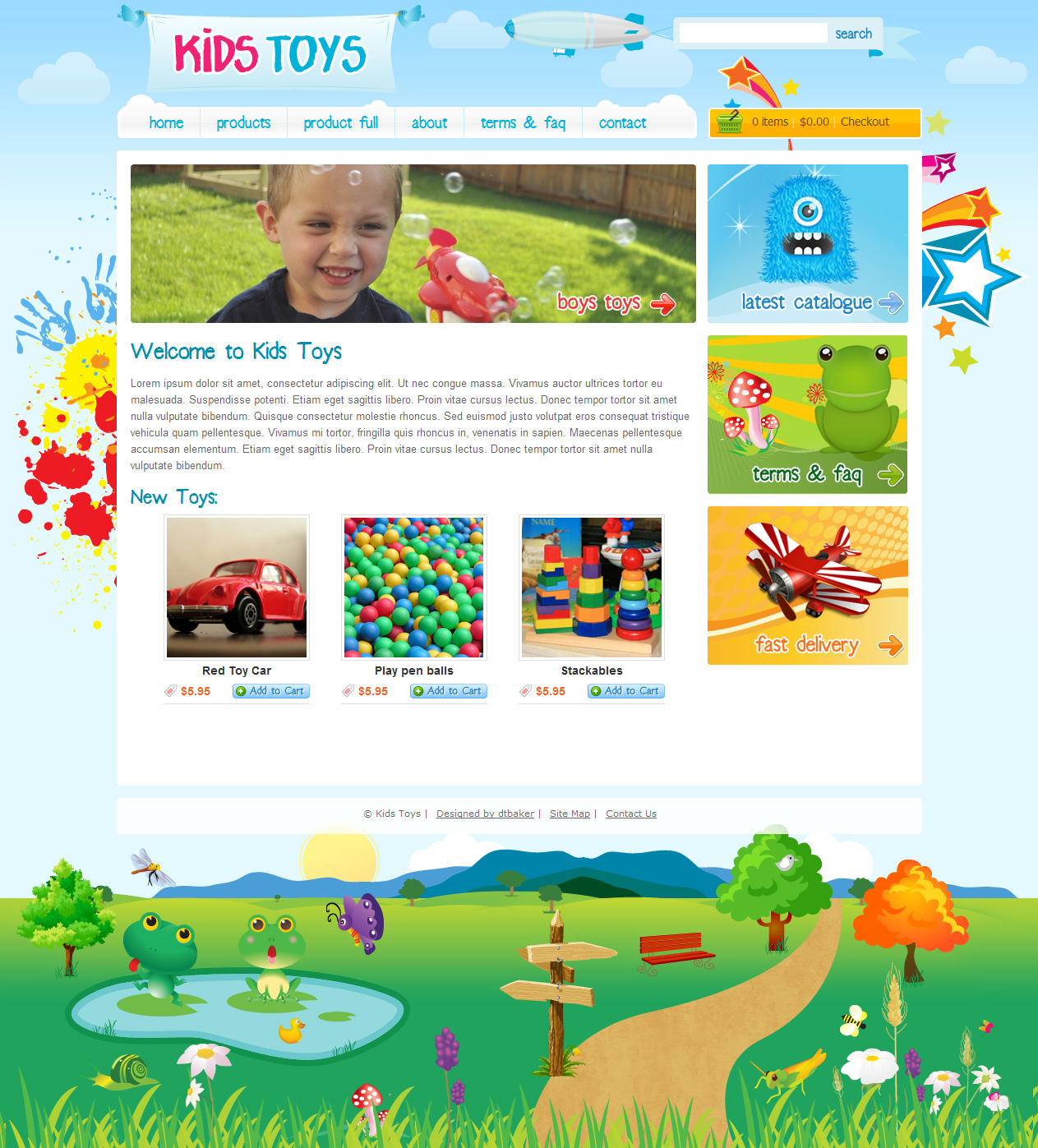 Kids Toys - 9 Page HTML Site - Shopping Cart