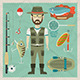 Fisherman Flat Character.  Fishing Flat Icons