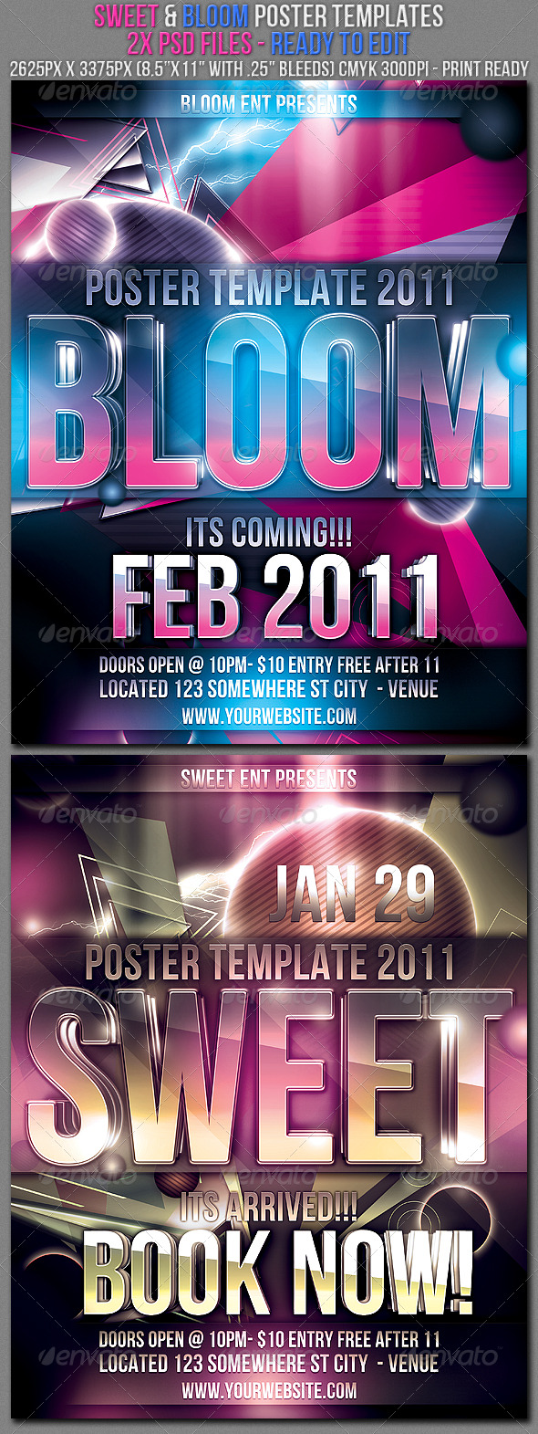 Bloom & Sweet Poster Templates - Clubs & Parties Events