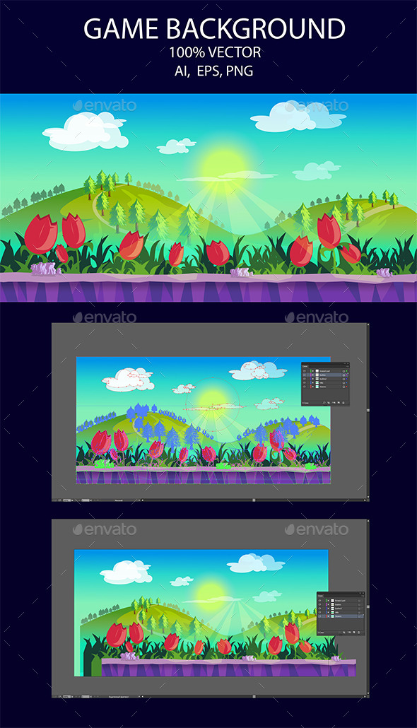 Game Background Flower And Hills (Backgrounds)