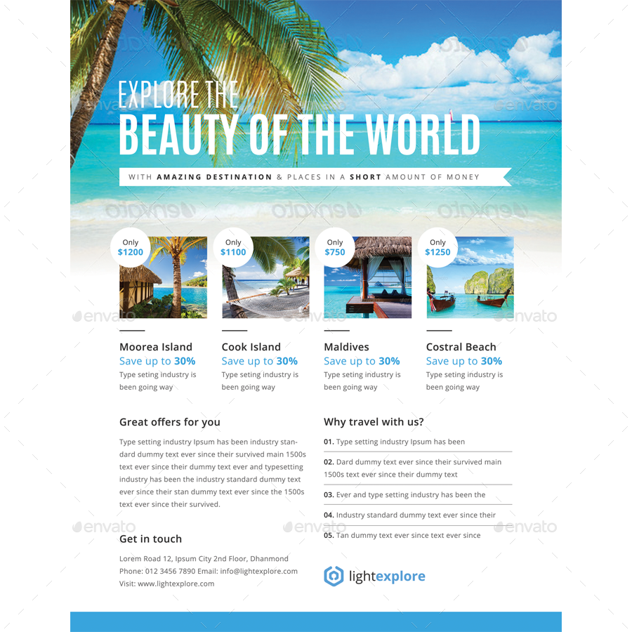 Travel & Vacation Flyer Ads Bundle by samiul75 | GraphicRiver