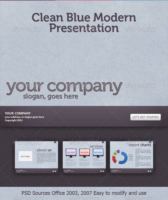 Clean Blue Textured Modern Presentation - Business Powerpoint Templates