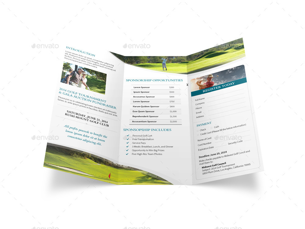 Golf tournament trifold brochure by mike pantone for Golf tournament program template