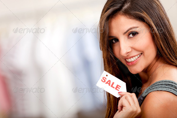Female buying on sale - Stock Photo - Images