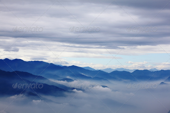 mountains with sea of cloud - Stock Photo - Images