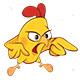 Set of Cute Cartoon Yellow Chickens